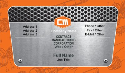 Orange Metal Working Business Card Template